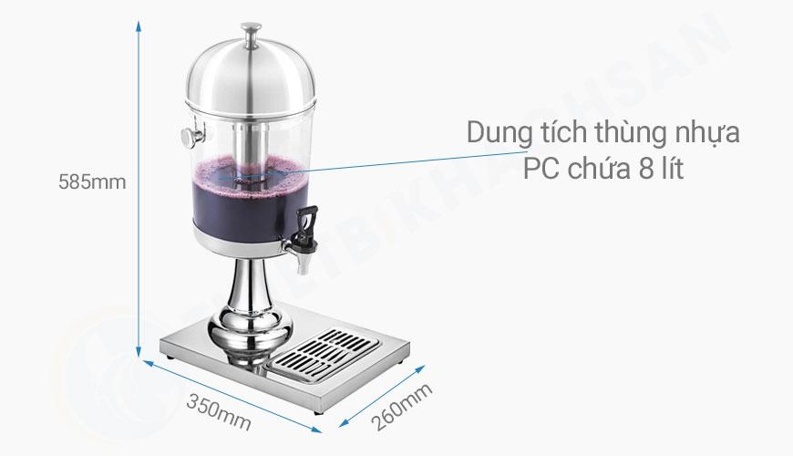 Bình đựng nước trái cây 1 ngăn 8 lít BC2201-1 hình kích thước