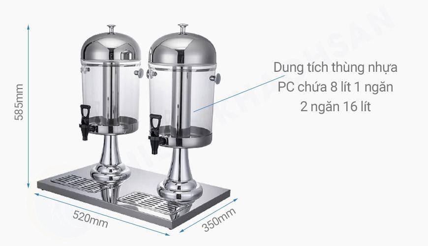 Kích thước và dung tích bình đựng nước trái cây 2 ngăn 16 lít BC2201-R2