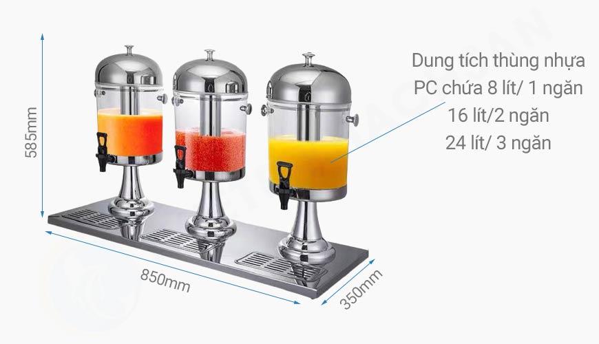 Kích thước Bình đựng nước trái cây giá rẻ 3 ngăn 24 lít BC2201-R3