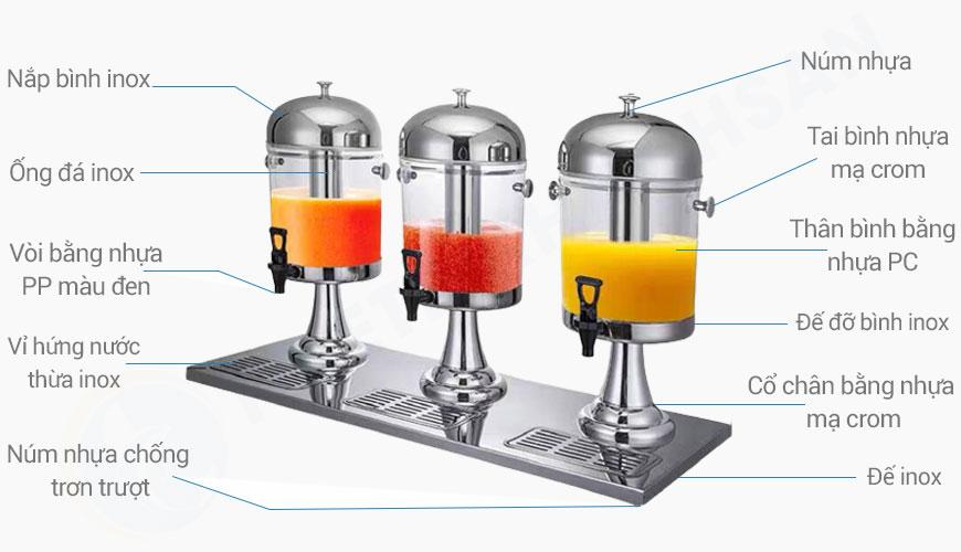 Bình đựng nước trái cây giá rẻ 3 ngăn 24 lít BC2201-R3