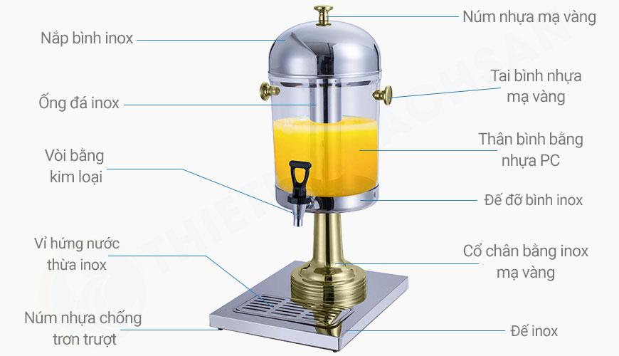 Bình đựng nước trái cây inox 1 ngăn 8 lít cổ chân mạ vàng BC2213-1G