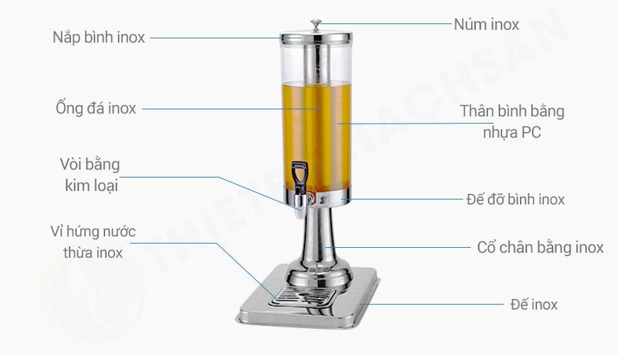 Mô tả Bình đựng nước hoa quả có vòi 3 lít 1 ngăn BC2222-1