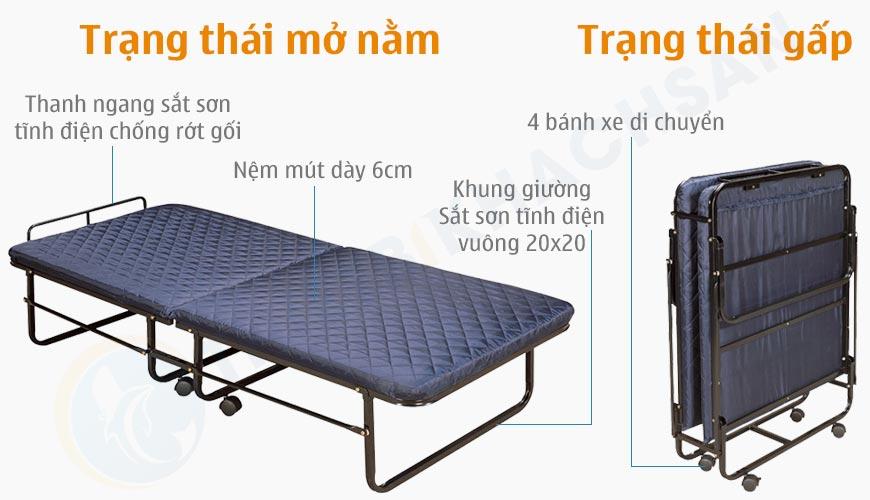 Mô tả chi tiết Giường extra bed nệm dày 06 cm sắt sơn EX7121-6