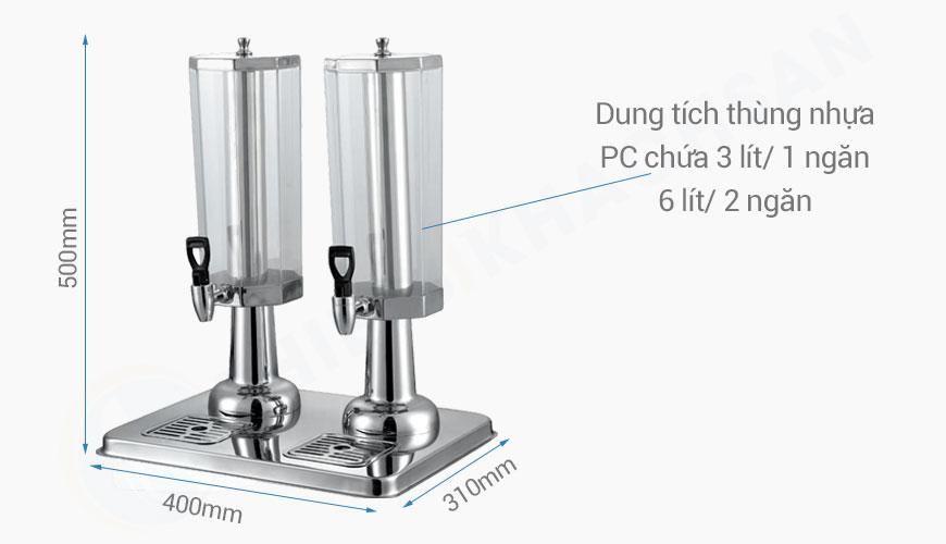 kích thước Bình đựng nước ép hoa quả bát giác 2 ngăn 6 lít BC2225-2