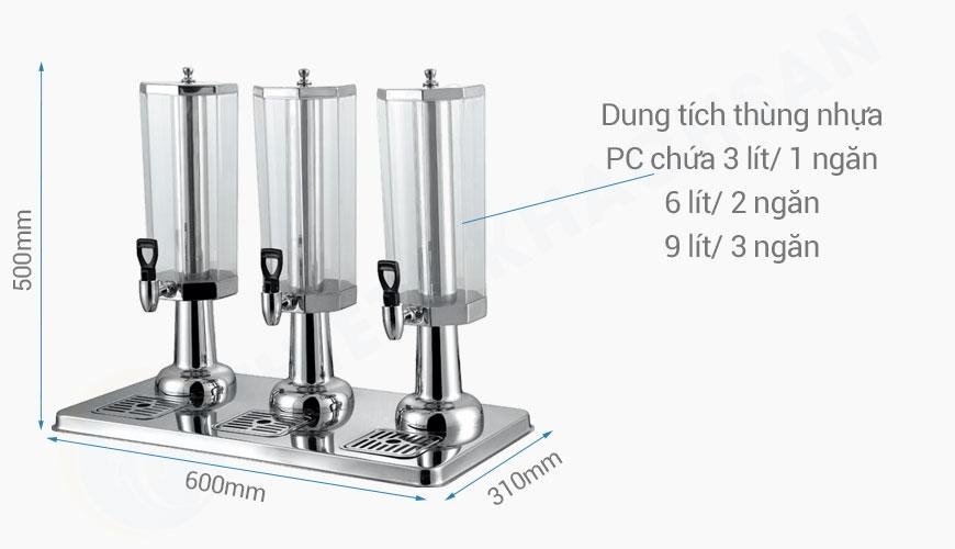 Kich thước Bình đựng nước ép hoa quả bát giác 3 ngăn 9 lít BC2225-3