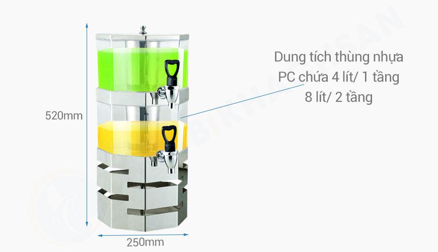 Kích thước Tháp đựng nước trái cây bát giác 2 tầng 8 lít BC2226-2