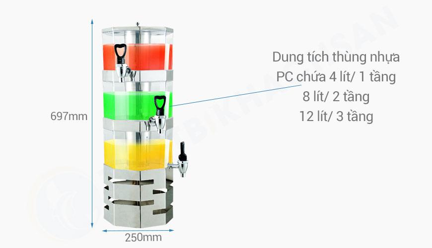 Kích thước Tháp đựng nước trái cây bát giác 3 tầng 12 lít BC2226-3