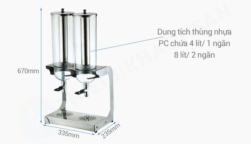 Kích thước Bình giữ lạnh nước trái cây 2 ngăn 8 lít BC2237-2