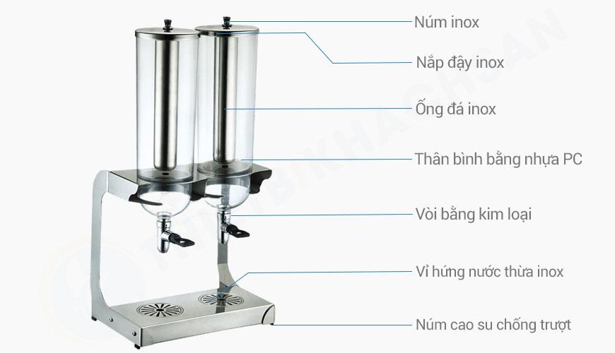Bình giữ lạnh nước trái cây 2 ngăn 8 lít BC2237-2