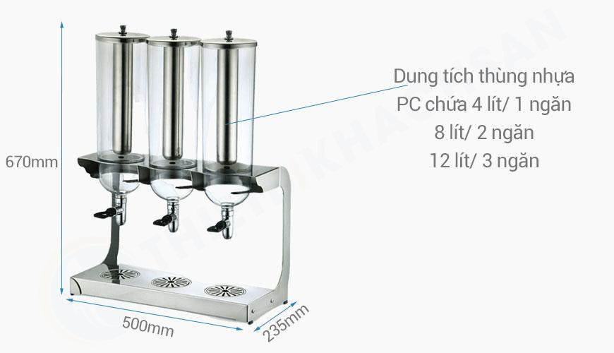 Kich thước Bình giữ lạnh nước trái cây 3 ngăn 12 lít BC2237-3
