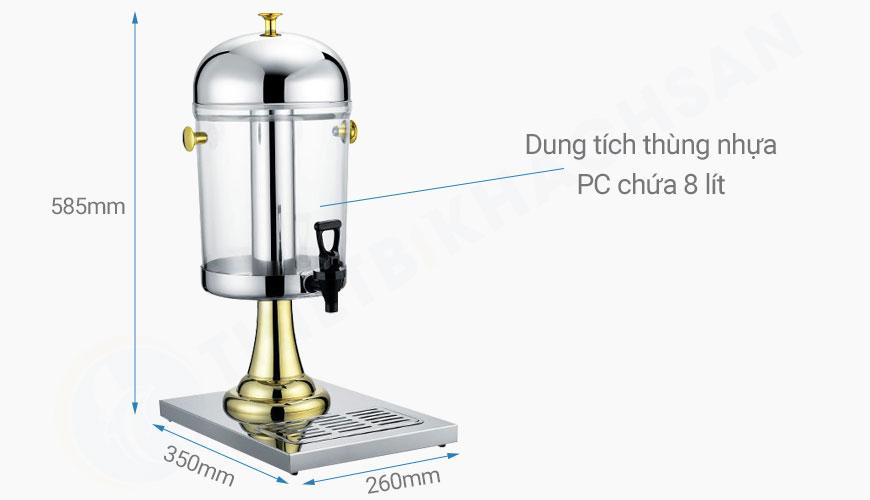 Bình nước trái cây giá rẻ chân vàng 1 ngăn 8 lít BC2202-1G